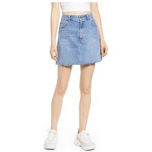 TopShop Frayed Hem Mini Skirt 100% Cotton Size 8